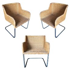 Model D43 Wicker and Chrome Chairs by Harvey Probber, Set of Three