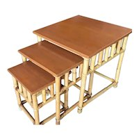 Set of 3 Rattan Nesting Side Tables w/ Mahogany Top