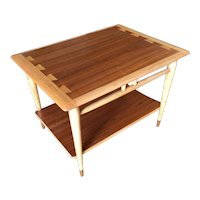 Lane Acclaim Walnut and Ash Inlay Side Table Designed by Andre Bus