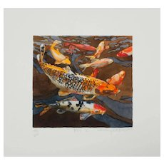 "Shirley Pettibone ""Koi 6"" Nature Watercolor Giclee Print Limited 3/200 Signed"