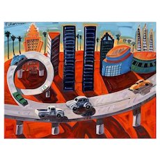 """Frank Romero """"Cheech's Downtown"""" Giclee Print Limited 30/190 Signed"""