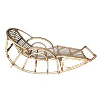 """Restored Franco Albini Style """"Day Dreaming"""" Rattan Rocking Lounge Chair"""