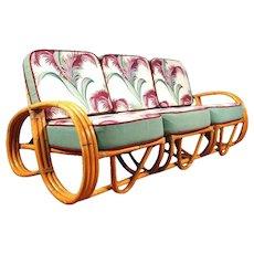 Restored Three-Strand Reverse Pretzel Rattan Sofa