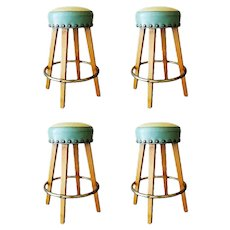 Mid-Century Large Nail Head Bar Stools with Brass Footrest, Set of 4