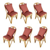 Restored Midcentury Rattan Dining Side Chair with Pole Rattan Seatback, Set of Six