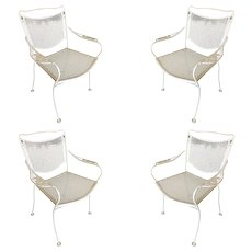 Woodard Company Mesh Outdoor/Patio Chair with Leaf Pattern Arms, Set of Four