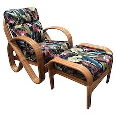 Rattan Lounge Chair with 3/4 Pretzel Arms and Ottoman