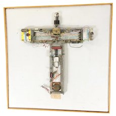 """Abstract """"Stations of The Cross"""" Untitled 3 Vacuum Tube Wall Sculpture by Pasqual Bettio"""