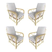 """Rare """"1949er"""" Rattan 3-Strand X-Arm Lounge Chair by Ficks Reed, Set of Four"""