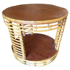 Two Tier Round Stick Rattan Coffee Table with Mahogany Top
