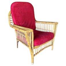 "Restored ""President's"" Art Deco Stick Rattan Lounge Chair w/ Tapered Legs"