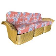 "Restored ""Golden Girls"" Art Deco Rattan Fan Arm Three-Seat Sofa, Rare"