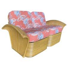 """Restored """"Golden Girls"""" Art Deco Rattan Fan Arm Settee, Rare"""