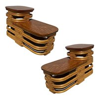 Paul Frankl Style Stacked Rattan Side Table with Cut Outs, Pair