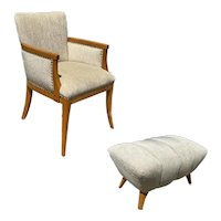 High Style Mid Century Reading Chair w/ Ottoman by Heywood Wakefield