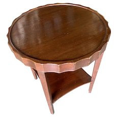 Round Art Deco Smoking Side Two-Tier Table with Bottle Cap Top