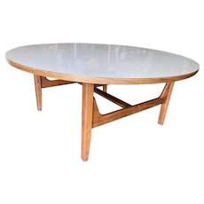 """Large 38"""" Danish Mid-century Round Coffee Table with White Laminate Top"""
