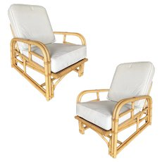 Restored Paul Lazslo Rattan Two Strand Lounge Chair, Pair