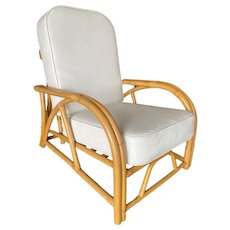 """Restored Two-Strand """"40s Transition"""" Rattan Recliner Lounge Chair"""