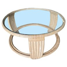 Five Strand Rattan Coffee Table with Glass Top