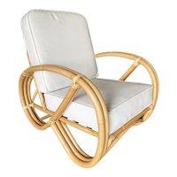 Restored 3/4 3-Strand Round Pretzel Rattan Lounge Chair