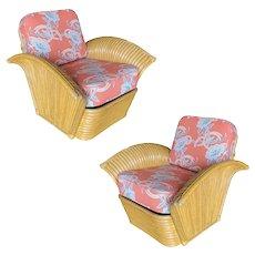 "Restored Pair of ""Golden Girls"" Art Deco Rattan Fan Arm Lounge Chairs"