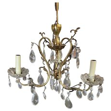 Hollywood Regency Crystal and Brass Chandelier Three Lights