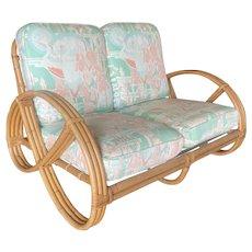 Restored Three-Strand Round Full Pretzel Loveseat Sofa with Arched Base