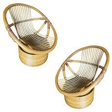 Vintage Modern Rattan Swivel Mamasan Bucket Lounge Chair, Pair