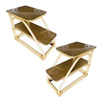 """Restored Single Strand Two-Tier """"D"""" Rattan Side Table, Pair w/ Glass Tops"""