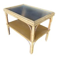 Restored Stick Rattan Two-Tier Coffee Table with Ribbed Glass Top