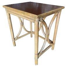 "Restored ""Hour Glass"" Rattan Side Table w/ Acacia Koa Wood Top"
