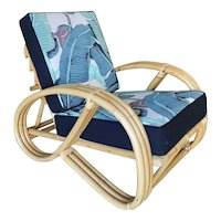 3-Strand 3/4 Round Pretzel Rattan Adjustable Back Lounge Chair w/ Arch Base