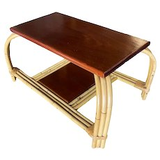 """Rare Rattan and Mahogany """"Grasshopper"""" Coffee Table with Loop Legs"""