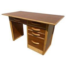 Restored Pre-War Wide Body Mahogany Desk with Rattan Border