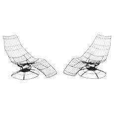 "Vintage Mid Century Wire Banana ""Siesta"" Lounge Chair by Homecrest, Pair"
