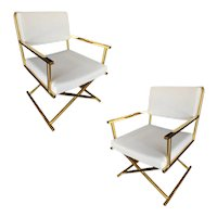 """Pair of Brass """"Directors Chair"""" Chairs in the Style of Cleo Baldon"""