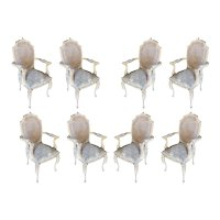 Shabby Chic Queen Anne Style Wicker Back Dinning Armchairs, Set of 8