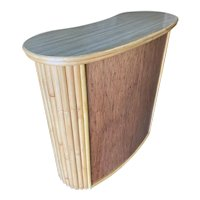 Curved Stacked Rattan Bar with Mahogany Front & Top