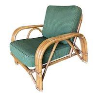"Restored Paul Lazslo Rattan Three-Strand ""Staple"" Arm Lounge Chair"