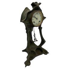 Art Nouveau Bronze and Iron Mantle Clock New Haven Clock Company