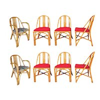 Restored Slat Leg Rattan Dining Chair, Set of 8