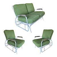 Aluminum Patio/Outdoor Settee & Lounge Chair Slider Rocking Patio Set with Speed Arm