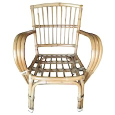 3-Strand Bentwood Rattan Armchair with Stick Rattan Back