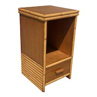 Restored Single Drawer Mahogany Bedside Table with Stacked Rattan Border
