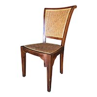 High Style Mid Century Mahogany Dining Chair w/ Woven Wicker Seat