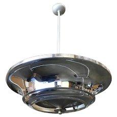 Two Layer Chrome Art Deco Saucer Ceiling Pendant Lamp