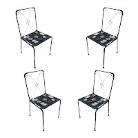 Scrolling Iron Patio/Outdoor Lounge Chair w/ Pad Seat, Set of Four