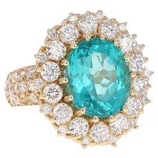 7.55 Carat Oval Cut Apatite Diamond 14 Karat Yellow Gold Ring