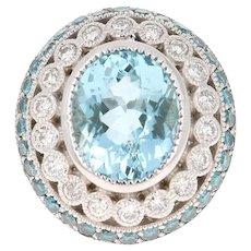 6.52 Carat Aquamarine Diamond 14 Karat White Gold Cocktail Ring